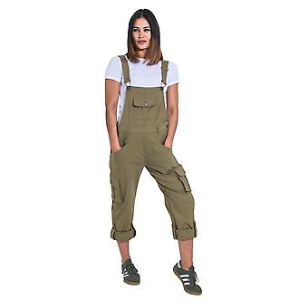 USKEES Womens Dungarees - Olive Relaxed fit Roll-up Leg Cotton Bib-overalls