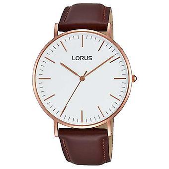 Lorus Mens Brown Leather Strap White Dial RH880BX9 Watch