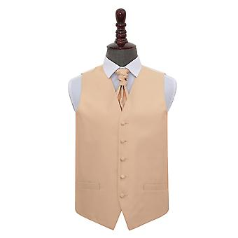 Champagne Solid Check Wedding Waistcoat & Cravat Set