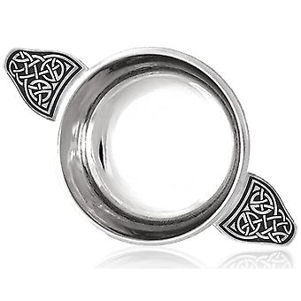 Celtic Knot Handle Pewter Quaich with Celtic Knot Band - 4.5