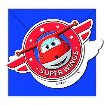Super wings aircraft Jet party invitation cards 6 piece children birthday theme party