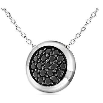 IBB London Cubic Zirconia Disc Adjustable Chain Necklace - Silver/Black