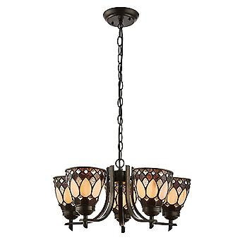 Interiors 1900 Brooklyn 5 Light Upturned Tiffany Chandelier Light