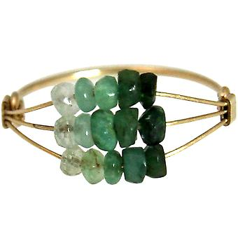 Gemshine - women's - ring - gold plated - emerald - green