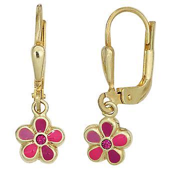 Kinderen oorbellen bloem 333 Gold Yellow Gold 2 blokken roze girl oorbellen
