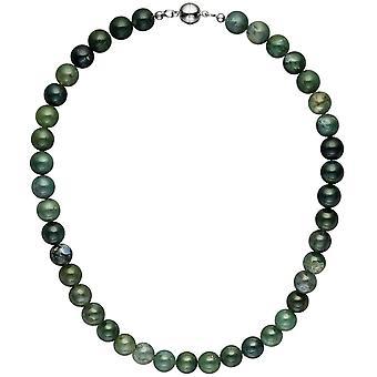 Kjede kjede Moss agat 45 cm perlestrikk agat stone kjede halvedelstener halskjede