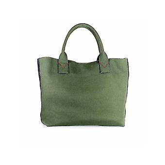 PINKO GREEN CANVAS CRISPO LARGE SHOPPER