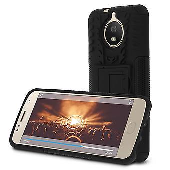 À prova de choque caso Stand, contracapa para Motorola Moto G5S & Kickstand - preto