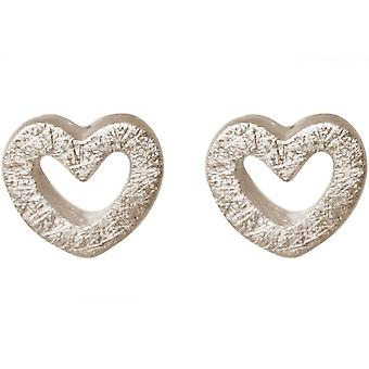 Ladies heart earrings 925 Silver 7 mm