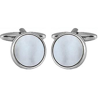 David Van Hagen rod galwanicznie matka perła okrągłych bulajów spinki do mankietów - White/Silver