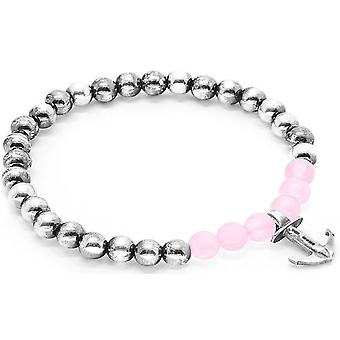 Anchor and Crew Keel Silver and Rose Quartz Stone Bracelet - Pink/Silver