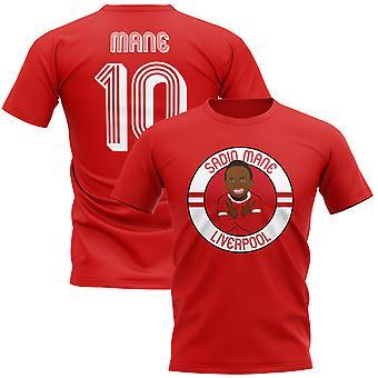 Mane sadio Liverpool ilustração camiseta (vermelho)