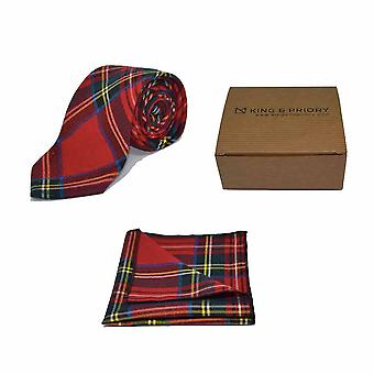 Traditional Red & Yellow Tartan Check Tie & Pocket Square Set - Tweed, Plaid Country Look | Boxed