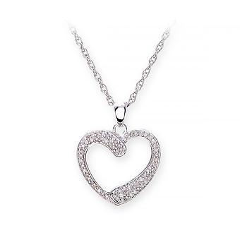 Star anneaux de mariage argent Sterling collier avec diamant serti pendentif forme coeur