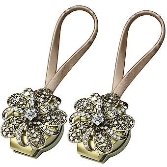 TRIXES 2PC bronce flor cortina magnética Tie Backs Diamante Deta
