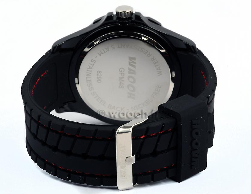 Waooh - GPM48 Watch - Silicone Bracelet Black tire style - Silver Bezel