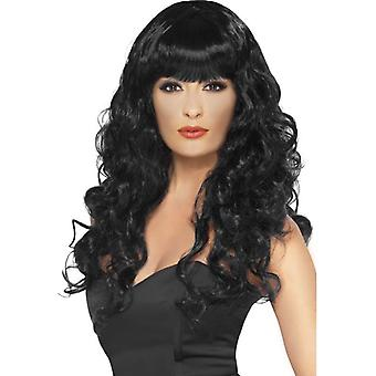 Lungo nero parrucca, parrucca sirena, Fancy Dress Accessory, Star del cinema.