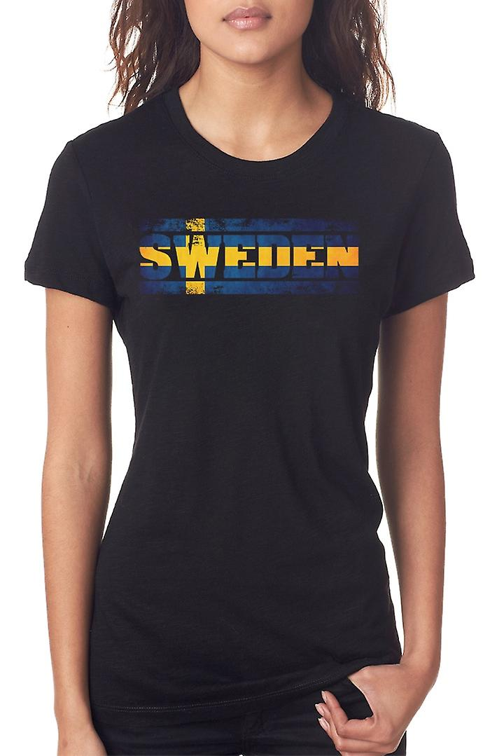 Sweden Swedish Flag - Words Ladies T Shirt