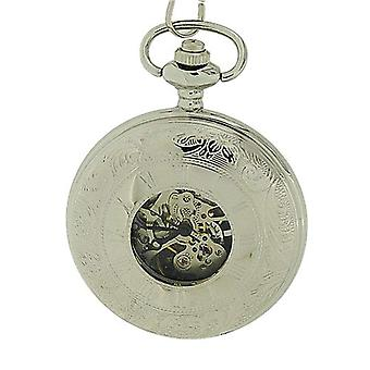 Boxx Mechanical Silver Tone Gents Skeleton Pocket Watch Double Hunter Boxx191