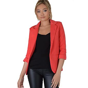 Lovemystyle Coral Pink Blazer Jacket With Curved Hem