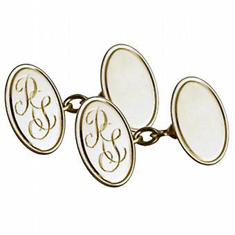 9ct Gold 19x11mm Oval handgravierte monogrammiert Kette Manschettenknöpfe