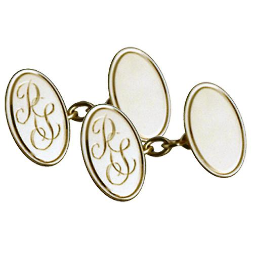 9ct Gold 19x11mm oval hand engraved monogrammed chain Cufflinks