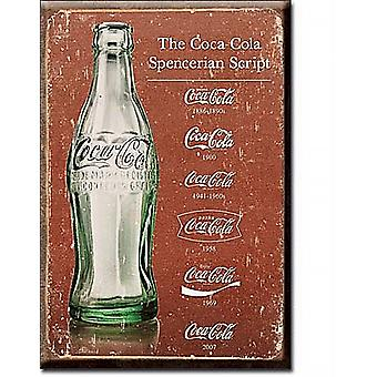Coca Cola Script Evolution steel fridge magnet  (de)