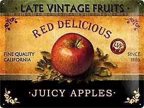 Juicy Apples large embossed metal sign