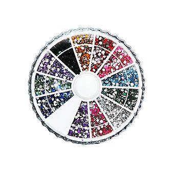 Naglar Rhinestone hjul 1500st 2mm glittrande sten 12 färger
