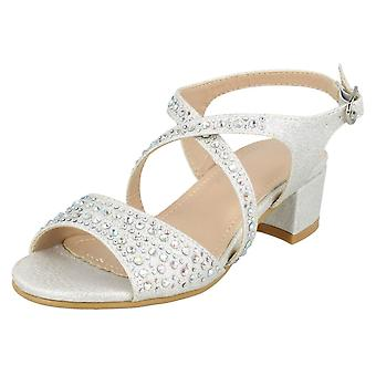Girls Spot On Mid Heel Mule Sandals H1105