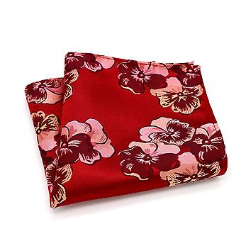 Red & pink men's wedding look designer pocket square