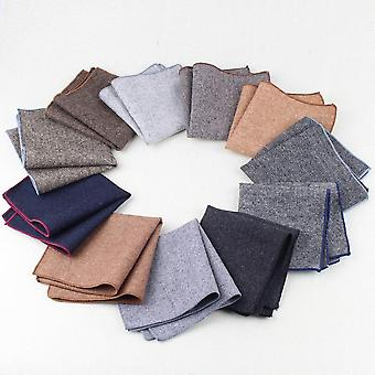 Aubergine & red trim tweed look wool pocket square