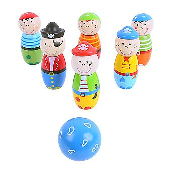 Bigjigs Toys Wooden Mini Pirate Skittles Bowling Set Game