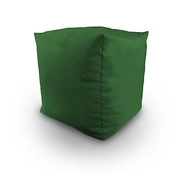 Green Water Resistant Bean Filled Cube Pouffe Footstool