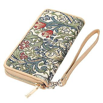 William morris - golden lily long zip rfid money wallet by signare tapestry / lzip-glily