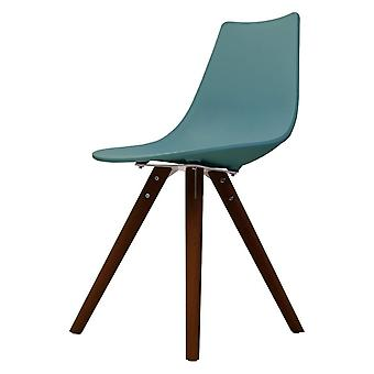 Fusion Living Iconic Sarcelle Plastic Dining Chair With Dark Wood Legs Fusion Living Iconic