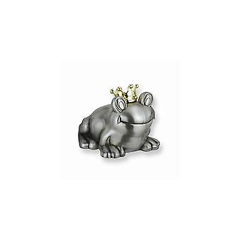 Frog with Gold-tone Crown Metal Bank