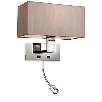 Firstlight Modern Polished Chrome Bedroom Wall Light With Reading Light