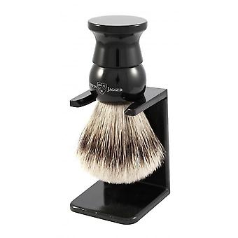 Black Badger With Stand - Synthetic Hair Silver Tip