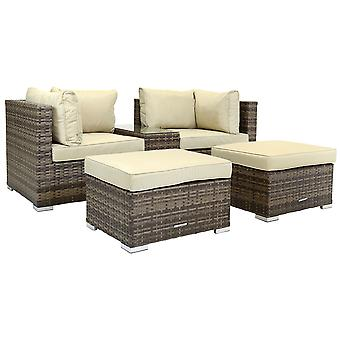 Charles Bentley 2/3 Seater Multi Use Rattan Lounge Set Love Seat Footstools Table in Natural/Grey