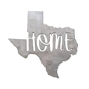 State - home - texas - metal cut sign 15x14in