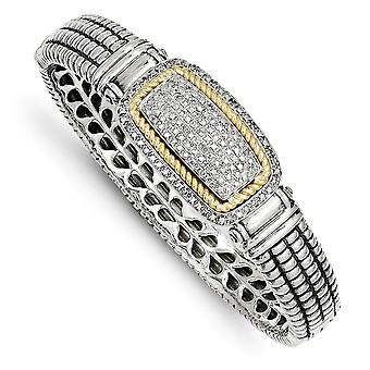 925 Sterling Silver Hinged Polished Prong set Hidden catch Antique finish and 14k Yellow Diamond Bangle Bracelet