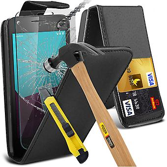 i-Tronixs Vodafone First 7 Case Cover PU Leather Flip Case + Glass Screen Protector -Black