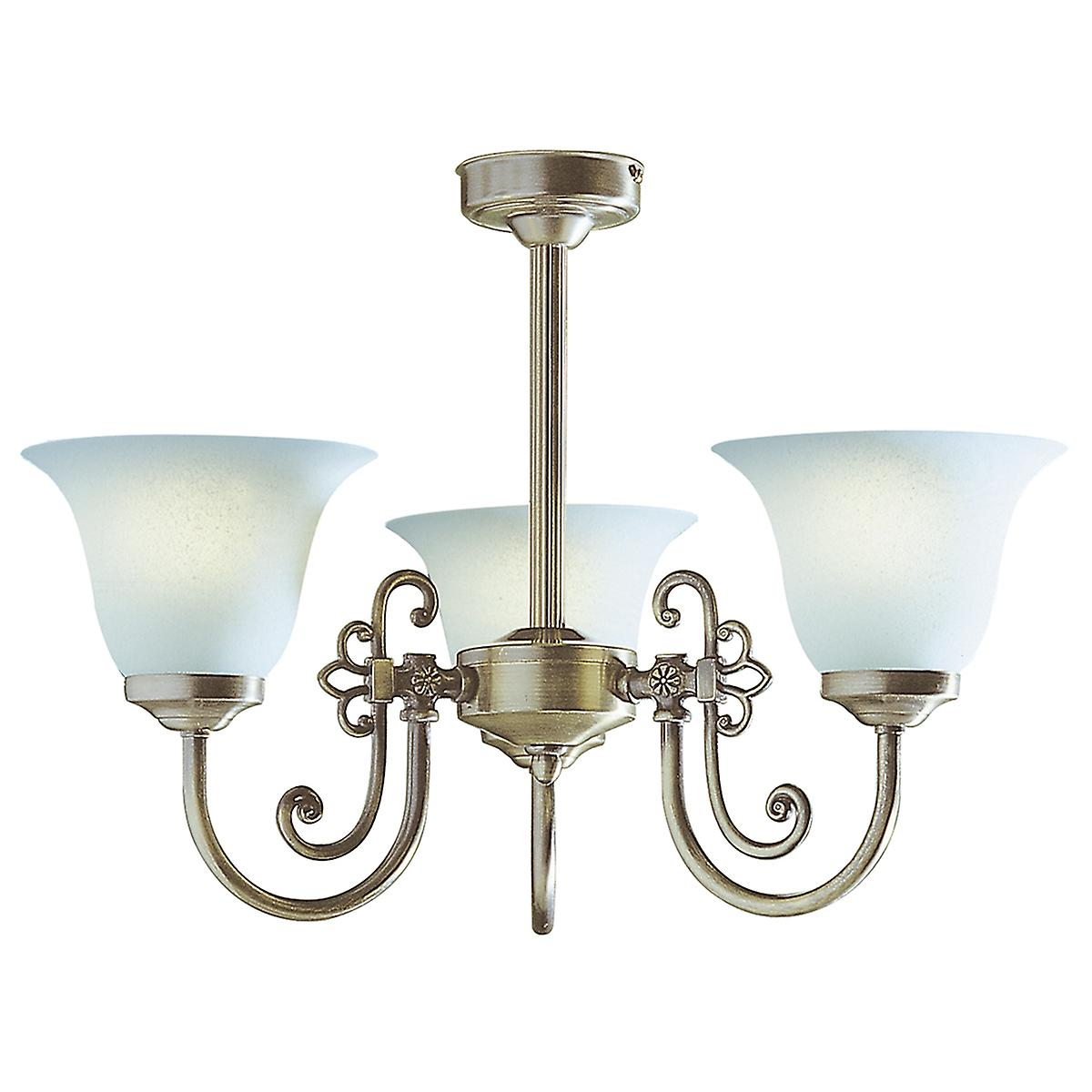 Dar WOO0385 Woodstock 3 Light Ceiling Fitting In An Antique Finish With Glass