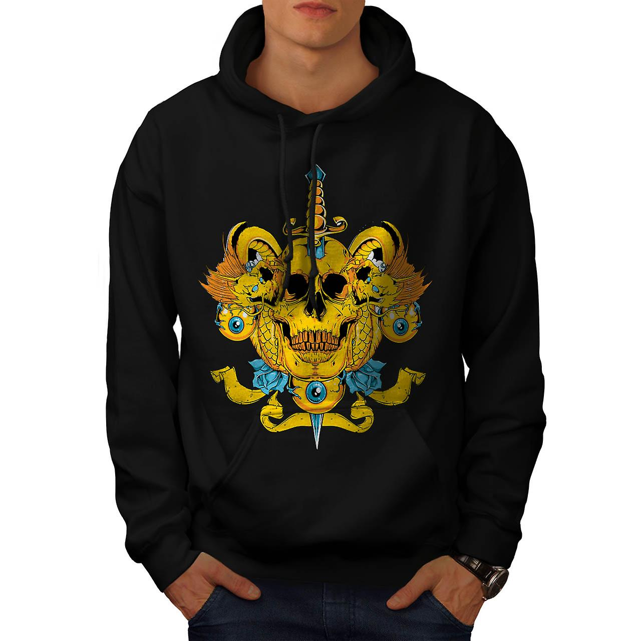 Sword Skull Head Dead Devil Eyes Men Black Hoodie | Wellcoda
