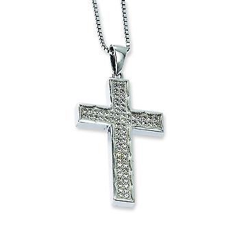 Sterling Silver Pave Spring Ring Rhodium-plated and Cubic Zirconia Brilliant Embers Cross Necklace - 18 Inch