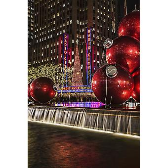 Christmas decorations near Radio City Music Hall New York New York United States of America PosterPrint