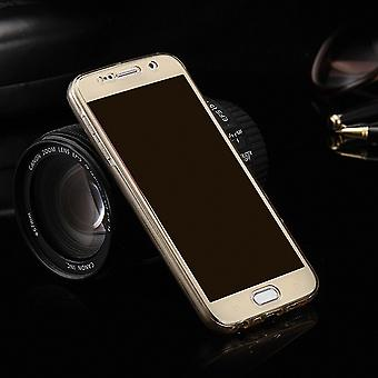Crystal case cover for Samsung Galaxy E7 gold frame full body