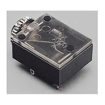 3.5 mm audio jack Socket, horizontal mount Number of pins: 3 Stereo Black BKL Electronic 1 pc(s)