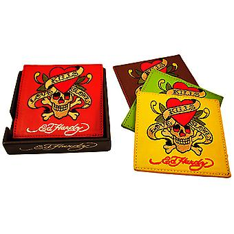 2 Sets Of 4 Ed Hardy `Love Kills Slowly` Leather Coasters